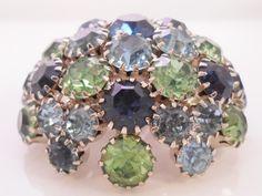 Warner Rhinestone Blue Green Dome Shape Brooch Pin #Warner