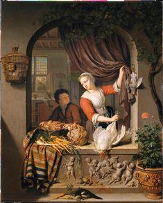 La Cuisinière.  Willem Van Mieris, XVIIIe siècle.