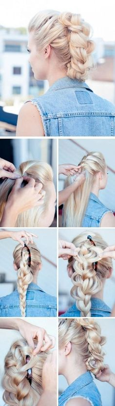 Braided Updo Hair Styles Tutorial: Faux Hawk Updos/ Source This is a gorgeous braided Faux Hawk up-do hairstyle, with loose … Braided Hairstyles Updo, Faux Hawk Hairstyles, Hair Updo, Braided Updo, Diy Hairstyles, Pretty Hairstyles, Hairstyle Tutorials, Wedding Hairstyles, Mohawk Hair