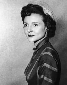 """""""Betty White looks elegant wearing a veiled hat circa 1955. It is a far cry from the tracksuits Betty's character Elka wears on 'Hot in Cleveland.'"""" from TVLand0496 on flickr"""