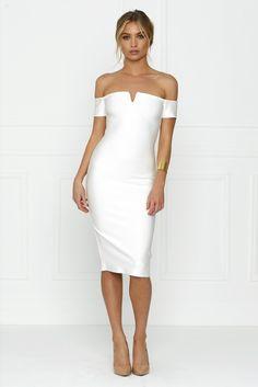 Honey Couture OLIVIA White Off Shoulder Bandage Midi Dress