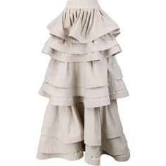 Rosie Assoulin Three Layer Ruffle Skirt ($5,395) ❤ liked on Polyvore featuring skirts, layered skirt, frilly skirts, double layer skirt, pink skirt and flounce skirt
