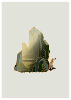 quartz crystal geometric design over photo, with fox, by intheearlyhours on etsy