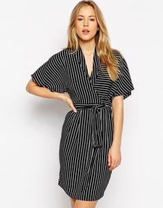 Enlarge ASOS Pinstripe Kimono Wrap Dress