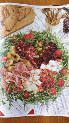 Antipasto Wreathed with Rosemary. Quick and Easy Holiday Appetizers Christmas