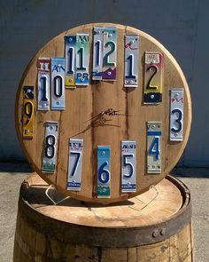 Barrel Head License Plate Clock – Bourbon Barrel Rehab