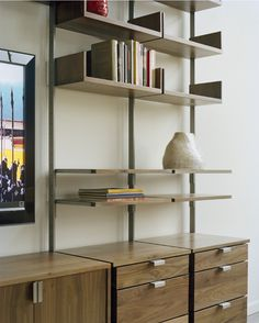 the as4 modular furniture system  Detail of Home office with desk, pencil drawers, cabinet, decks, storage drawers and bookshelves.    Wood components in solid white oak.  Metal components in cold-rolled steel bar.