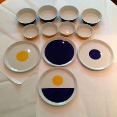Gio Ponti Plates and Bowls (4 Place Settings) by Ceramiche Franco Pozzi #GioPonti