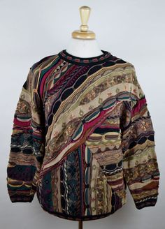 Tundra Canada Vintage Men's Large Multi-Color Cotton Cosby Coogi Style Sweater #TundraCanada #Crewneck