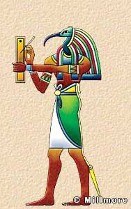 Thoth  Thoth was the god of writing and knowledge, and was depicted as a man with the head of an ibis holding a scribe's pen and palette, or as a baboon. The Greeks associated him with Hermes and ascribed to him the invention of all the sciences as well as the invention of writing. He is often portrayed writing or making calculations.
