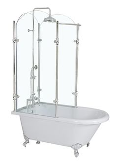 Oasis Vintage Antique Clawfoot Tub with Glass Shower Surround-- For my down stairs bathroom? I can't think of any other way to have a shower for guests
