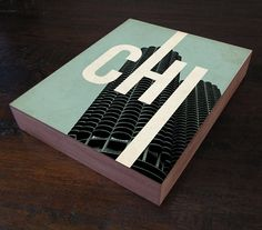Chicago CHI  Wood Block Art Print by LuciusArt on Etsy, $39.00... For all my Chicago friends to buy!!