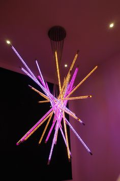 Laser cut stainless steel tube with RGB colour changing LED technology - Custom commission hung in the stairwell of a private home. Stainless Steel Tubing, Led Technology, Incense, Lighting Design, Color Change, Tube, Colour, Projects, Light Design