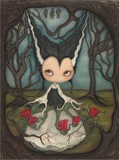 Bride Of Frankenstein Art Painting Halloween Rose por thepoppytree, $225.00