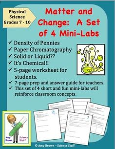 Matter and Change 4 Mini Labs (Elements, compounds, mixtures, density).  Nothing gets kids more excited about science than doing science experiments. This set of 4 mini-labs includes experiments that are fun, engaging, and thought provoking. These experiments will reinforce the concepts you have taught in class as well as develop good critical thinking and problem solving skills.