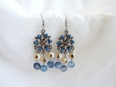 Antique Silver chandelier Earrings with Açaí Seeds by LauraBijoux