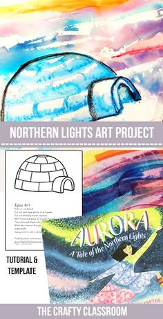 This is a dreamy way to create a beautiful Arctic sunset or Northern lights backdrop for your winter scenes. Materials: Igloo Template Bleeding Tissue Paper Watercolor Crayons Watercolor Paper Paintbrush, Water Aurora: A Tale of the Northern Lights Alas Winter Art Projects, Projects For Kids, Class Art Projects, Kindergarten Art Projects, Northern Lights Igloo, January Art, 7 Arts, Wal Art, 3rd Grade Art