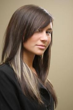 Brown Hair with blonde peek a boo highlights. Love it but I would chunk some in my bangs too