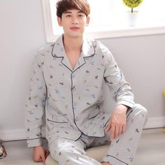 22293d7754 Gadpat Brand 2017 Men s Classic England Style Pijamas Hombre Cotton Plaid  Turn-down Collar Full Sleeve Men Pajamas Set