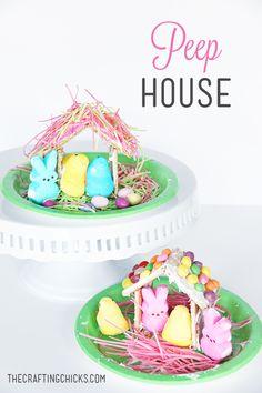Easter Peep Houses on www.thecraftingchicks.com