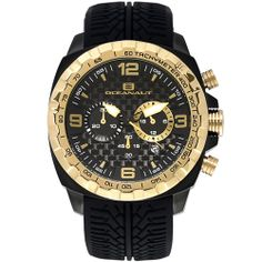 Oceanaut Men's Racer Chronograph - Black Watch  Stainless steel case, Silicon Strap, Black chronograph dial, Quartz movement, Scratch resistant mineral, Water resistant up to 10 ATM - 100 meters - 330 feet