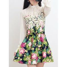 Stand-Up Collar Color Block Nipped Waist Floral Print Long Sleeve Wide Hem Dress For Women