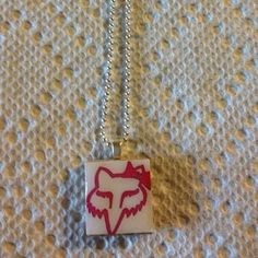 handmade recycled scrabble tile fox racing necklace On EBAY!!! handmade by me :)