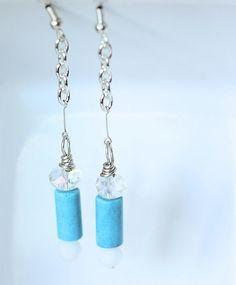 Turquoise Bead Earrings Turquoise Dangle Earrings by ScoSiCa, $17.00