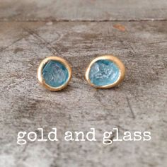 Crushed Glass Stud Earrings in Blue Gold Hand by shopbohemechic