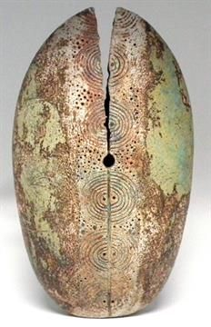 Alan Wallwork vase Of egg shape with incised circles, engraved marks to base, 46cm high Artists`