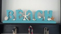 Wooden Beach Decor Sign with Seashells & by CathysCoastCreations