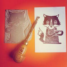 Linogravure linocut fox renard