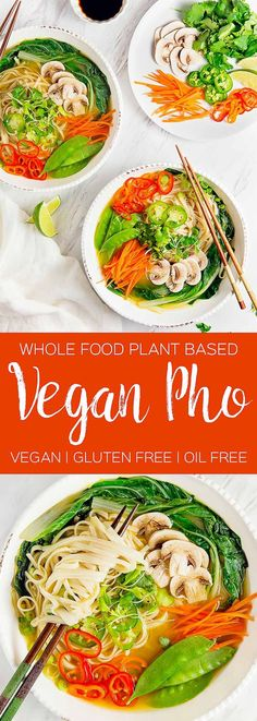 HEALTHY and DELICIOUS Vegan Pho! Packed with tons of yummy veggies! So cozy and nourishing! #vegan #glutenfree #oilfree #soup #plantbased #refinedsugarfree #healthy #healthyvegan #monkeyandmekitchenadventures #recipe
