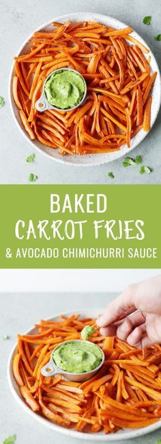 No guilt baked carrot fries with creamy avocado chimichurri dipping sauce! Healthy, so delicious and perfect as an easy side dish or snack! Nutritionalfoodie.com