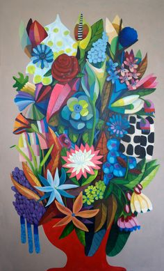 "Julie Hendriks; Acrylic, 2013, Painting ""Big flowers grey"""