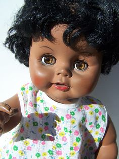 Vintage Doll  African American Baby Doll Marked by papercherries, $15.00