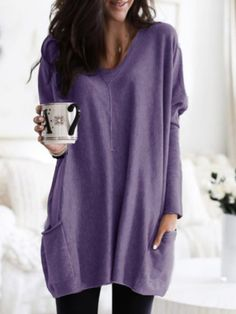 Women Casual V neck Long Sleeve Solid Tops with Pockets Plus Size Loose Shirts, Casual T Shirts, Casual Tops, Loose Tops, Loose Fit, Floryday Vestidos, Vestido Casual, Mini Shirt Dress, Mi Long