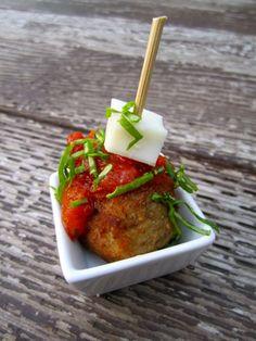 Meatball and mozzarella appetizer