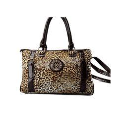 Flot rund taske fra Paris - med leopard mønster og brune farver