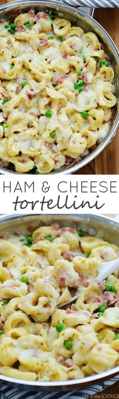 Cheesy tortellini with ham & peas... This will quickly become a family-favorite!