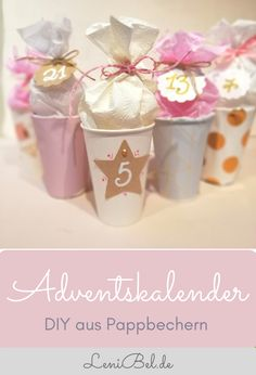 DIY Adventskalender basteln aus Pappbechern – individuell und ganz leicht nachzu… DIY advent calendars make from paper cups – individually and easily imitate. With plenty of space to fill. The crafting instructions are available LeniBel. Advent Calenders, Diy Advent Calendar, Countdown Calendar, Baby Scrapbook, Scrapbook Cards, Scrapbooking, Christmas Hacks, Christmas Crafts, Scrapbook Designs