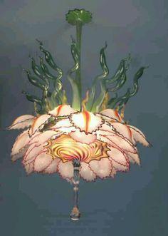 Lotus Hand Blown Glass Chandelier – Tim Lindemann - All About Decoration Blown Glass Chandelier, Flower Chandelier, Blown Glass Art, Chandelier Lighting, Chandeliers, Bijoux Art Deco, Deco Originale, Decoration Inspiration, Unique Lighting