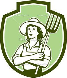 Female Organic Farmer Pitchfork Shield Retro Vector Stock Illustration
