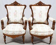 ~ American Renaissance Revival Walnut Parlor Chairs ~ auctions.bidsquare.com