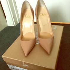 "Christian Louboutin ""So kate"" Patent Nude Only worn once. Very good condition, no scratches, no creases. Too small, willing to trade for a size 5.5. Christian Louboutin Shoes Heels"