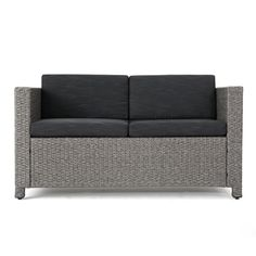 Noble House Gray Wicker Outdoor Loveseat with Mixed Black Cushion 41690 - The Home Depot Outdoor Loveseat, Outdoor Sectional, Black Cushions, Wicker Sofa, Sofa Seats, Swinging Chair, Love Seat, Christopher Knight, Gray