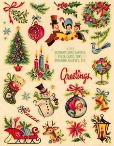 I love Vintage Christmas! Vintage transfer decals of Christmas images Christmas Past, Christmas Greetings, Winter Christmas, Christmas Crafts, Christmas Decals, Christmas Stuff, 1950s Christmas, Christmas Icons, Father Christmas