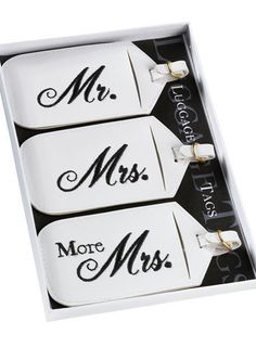Honeymoon luggage tags... hahaha seems about right...