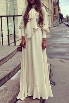 Solid Color Long Sleeve Self Tie Maxi Dress