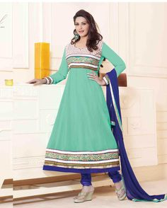 Sea   Green Awesome Embroidered Georgette Salwar Suits for women (Semi Stitched)       Fabric:   Georgette       Work:   Embroidered       Type:   Salwar Suits for   women (Semi Stitched)       Color:   Sea Green                   Fabric Top   Georget